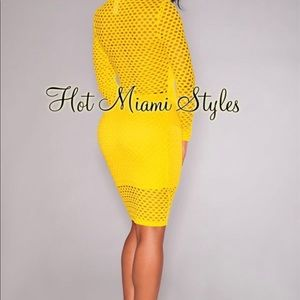 Yellow Net Nude Illusion Long Sleeves Dress